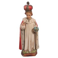 Infant of Prague Chalk Ware Statue Religious Devotion Figurine
