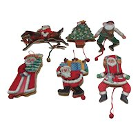 Set of 6 Unused Wooden Moving Christmas Ornaments
