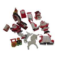 Set of 13 Yarn on Mesh Christmas Tree Ornaments