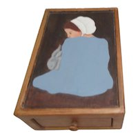 Allen's Wood Crafts Drawer Box with Amish Girl