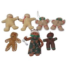 Gingerbread Christmas Ornaments Set of 7 Soft