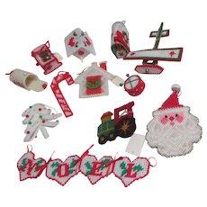 Set of 12 Yarn on Mesh Christmas Ornaments III