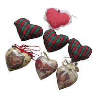 Set of 7 Soft Material and Paper Mache Heart shaped Christmas Tree Ornaments