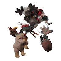 Set of 11 Non-Breakable Christmas Tree Ornaments Moose & Reindeer