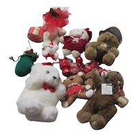 Set of 11 Unbreakable Teddy Bear Christmas Tree Ornaments