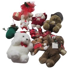 Set of 11 Unbreakable Teddy Bear Christmas Tree Ornaments