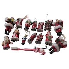 Set of 14 Santa Christmas Tree Ornaments & One Santa Toothbrush