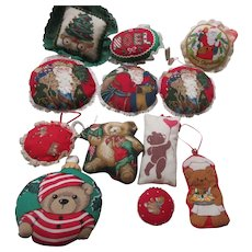 Set of 12 Soft Cloth Christmas Tree Ornaments