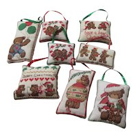Set of 8 Needlepoint Soft Christmas Tree Ornaments