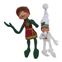 Pair of AnnaLee Bendable Soft Christmas Elves