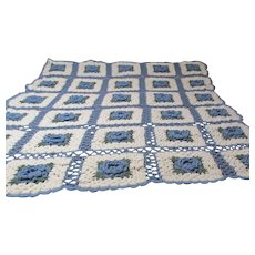Large Hand Crocheted Afghan Blue Flowers