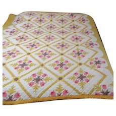 Reversible Quilt Floral Yellow