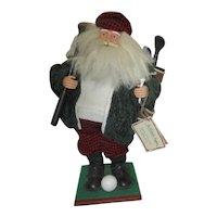 Tee Time Santa Figurine on Wooden Base