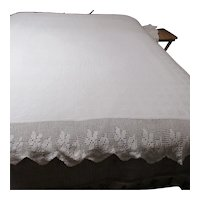 """White Cotton Bedspread with 9"""" Crocheted Edging on Bottom & Sides"""