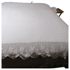"White Cotton Bedspread with 9"" Crocheted Edging on Bottom & Sides"