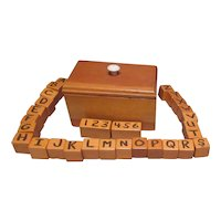 Hand Made Wooden Box with Building Blocks with Numbers and Alphabet