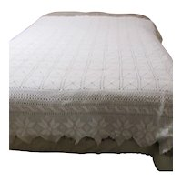 Queen Sized White Crocheted Bedspread