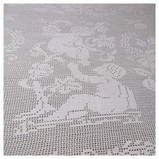 White Filet Crocheted Double Sized Bedspread