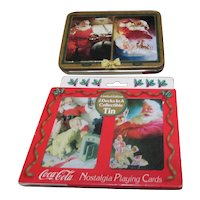 Two Tins with 2 Decks Each Playing Cards with Coca-Cola Santa