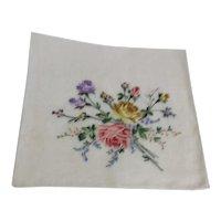 Machine Embroidered Silk Handkerchief in Original Box
