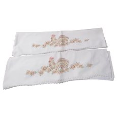 Pair of Embroidered Pillowcases Rooster Motif
