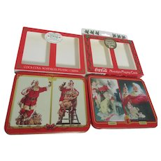 2 Tins with 2 Decks of Playing Cards in Each Coca Cola Santas
