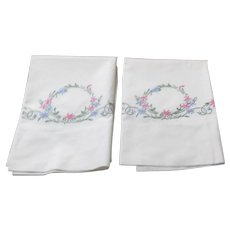 Pair of Embroidered Pillowcases Floral Design