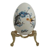 Chinese Hand Painted and Signed Egg on Brass Stand