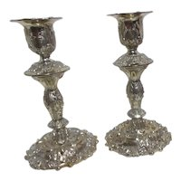 Pair of Silver Plated Candle Sticks from Leonard