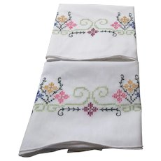 Pair of Pillowcases with Cross Stitch Embroidery