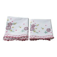 Pair of White Pillow Slips with Embroidered Flowers and Pink & White Crocheted Edging