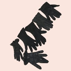3 Pairs Women's Black Gloves