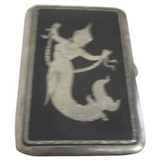 Siamese Sterling Silver Cigarette Case with Niello Finish and Etched Mermaid