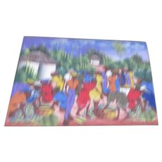 Colorful Silk Screeening  on Canvas Tropical Crowd Scene Signed Romuald
