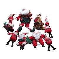 Set of 10 Soft Small Santa Claus Decorations