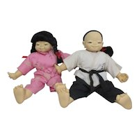 Pair of Asian Children Dolls from Good Well 1985