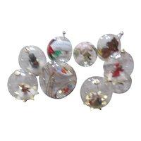 Set of 8 Glass Globe Christmas Tree Ornaments