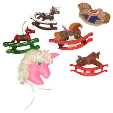 Set of 7 Christmas Tree Ornaments Horse Theme