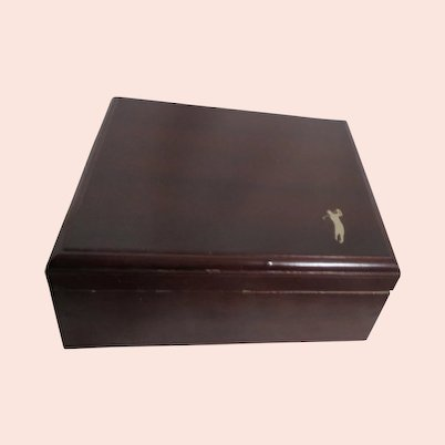 Cigar Humidor Box with Golfer imprint on Lid
