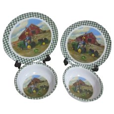 Gibson John Deere Child's Set 2 Plates and 2 Bowls
