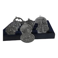 Set of 13 Pewter Round Medallion Style Christmas Tree Ornaments