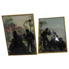 Benton Glass Company Pair of Silhouettes of a Couple Courting