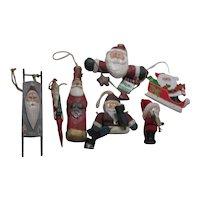 Set of 7 Wooden Santa Christmas Tree Ornaments