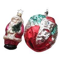 Pair of West German Santa Ornaments with Christmas Tree