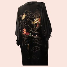 Kimono with Embroidered Dragon and Temple
