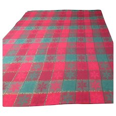 Avon Holiday Red & Green Squares Table Cloth 51 x 70