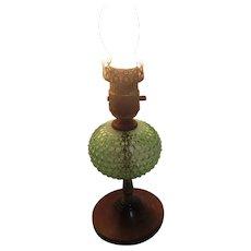 Uranium Florescent Green Hobnail Glass Electric Lamp