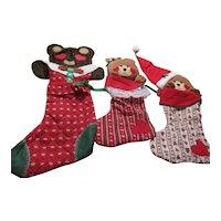 Set of 4 Christmas Hanging Stockings with Plush Bear Heads