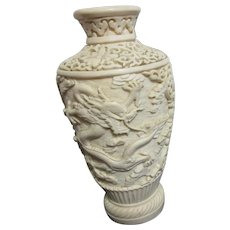 Resin Ivory-Colored Vase with 2 Dragons 6 1/2""