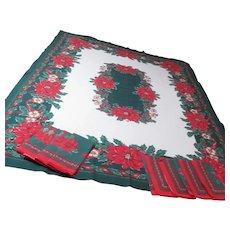 Christmas Tablecloth with 8 Matching Napkins